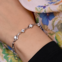 Thin bracelet - studded with crystals - silver plated