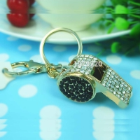 The keychain Whistle - gold-plated - inlaid with Rhine stone