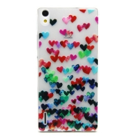 Cover Huawei Ascend P7 plastic transparent Gelatina Small hearts