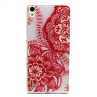 Cover Huawei Ascend P7 plastic transparent Gelatina Red flower