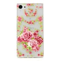 Cover Sony Z5 Mini transparent plasticis roses