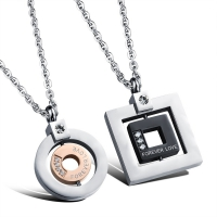 Necklace square and circle lovers