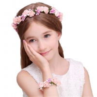 Collar with flowers bracelet for girls