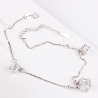 Simple silver anklets 3 g For girls