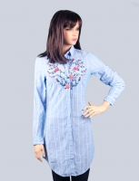 Women s long shirt with a rose pattern
