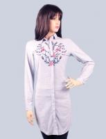 A long women s shirt with a neat pattern