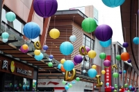 Paper decorative balls with wonderful colors of the size of 30 cm
