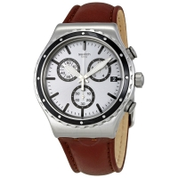 SWATCH  Grandino Silver Dial Men s Chronograph Leather Watch