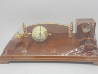 Set desk with name plate  clock and globe