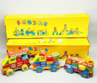 A wooden train with cubes and geometric shapes