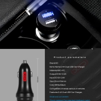 Car charger with 2 USB port 2.4 amp XO-CC05