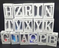 5 color letters in each letter measuring 10   15