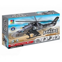 WOMA J5640 387 pcs Apache Helicopter Fighter 5 in 1 Model Building Block Set Educational DIY Bricks Toys Christmas gift for kids