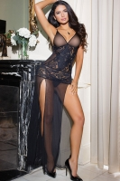 Mesh and Lace Long Gown