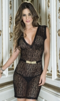 PLUNGING SCROLL LACE CHEMISE SET