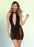 Sexy Black Cutout Dress with Sheer Mesh Insets