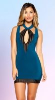 Teal Cutout Dress with Black Striped Mesh