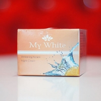 My White Whitening Keratin Night Cream Skin Freckles Spots Acne Aging Natural  20 g