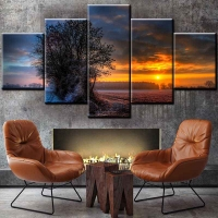 Panel sequential and distinctive of sunset landscape 5pcs