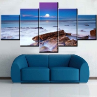 Panel sequential and distinctive of sea coast 5pcs