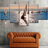Panel sequential and distinctive of ships in the sea 5pcs