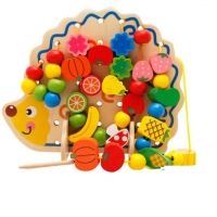 Wooden toys for children Fruit hedgehog with beads educational series