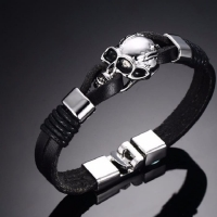 Mens Leather Bracelet - Skull