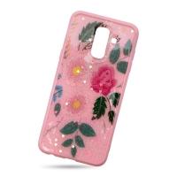 Plastic Cover Pink Rose for Samsung J8