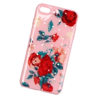 Plastic cover and beautiful rose for Iphone 7 plus