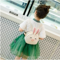Children form a bag bunny
