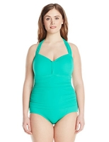 Plus-Size Halter-Neck Swimsuit
