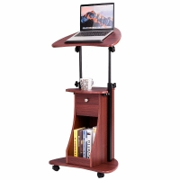 Tangkula Laptop Cart Adjustable Height and Swivel Top Lectern Podium