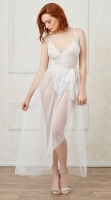 MOSAIC LACE TEDDY AND MESH SKIRT