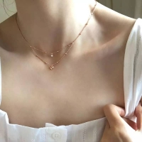 925 sterling silver double layer necklace