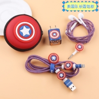 Stiker protect the charger and headphones 6 pieces captain America
