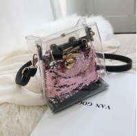 Women handbag transparent and shiny sequins