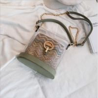 Women s handbag is transparent and contains a small bag