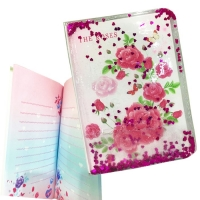 A water diary notebook with sequins