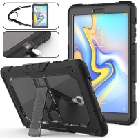 Clear Protective Case with Shock Resistant Multilayer Stand  Fits Samsung Galaxy Tab A 10.5 up to 10.5 Inch / Black