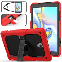 Clear Protective Case with Shock Resistant Multi-layer Stand  Fits Samsung Galaxy Tab A 10.5 up to 10.5 Inch / Red