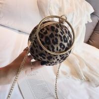 Women s handbag leopard skin circular canvas