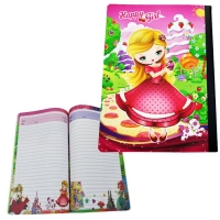 School notebook with internal graphics