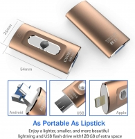 GUORUI 3 in 1 Flash Drive for iPhone / Android / PC / iPad with 32GB Dual Storage