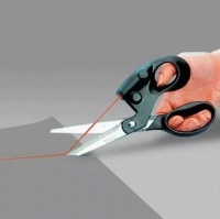 Laser-guided sewing scissors