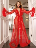 Sexy RED Mesh Sheer See Through Sleepgown With Fur