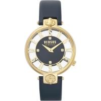 Versus by Versace Women s  KRISTENHOF  Quartz Gold-Tone and Leather Watch  Color Blue  Model  VSP490218