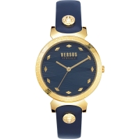 Versus by Versace Women s Marion Quartz Leather Calfskin Strap  Blue  14 Casual Watch  Model  VSPEO0219