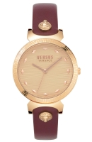 Versus by Versace Women s Marion Gold Quartz Leather Calfskin Strap  red  14 Casual Watch  Model  VSPEO0419