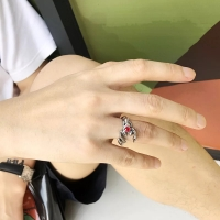 Men's ring - the red scorpion inlaid with rhinestone