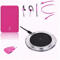 Set Power bank , Apple charging cable, universal charger, headphone, wireless charger from aiino